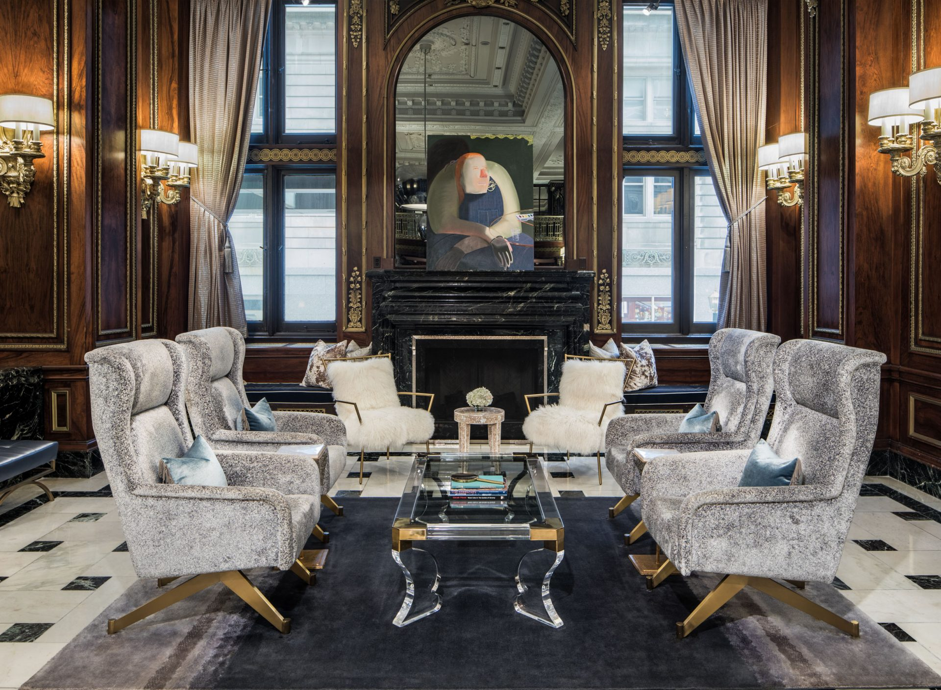 lobby activation in the evenings a jazz trio sets up shop by the fireplace and a bartender opens the doors of timothys hutch instantly transforming the - Blackstone Home Design